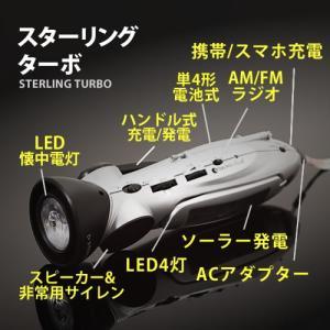 防災グッズ 基本セット 懐中電灯 手回し ソーラー LEDライト ラジオ ( STERLINGターボ )|roomy