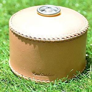 ガス缶 OD缶 カバー レザー 本革 250サイズ ケース 茶紐|roostoutdoors