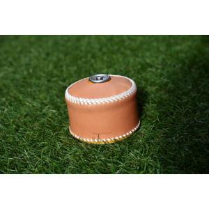 ガス缶 OD缶 カバー レザー 本革 250サイズ ケース 白紐|roostoutdoors