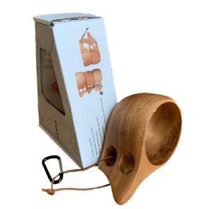 【食品衛生法検査済】 KUKSA ククサ 木製カップ 木のマグカップ 200cc 北欧 箱付き コーヒー スープ アカシア 茶色 ブラウン|roostoutdoors