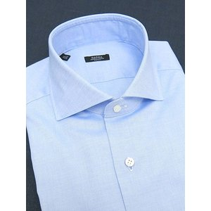 BARBA/バルバ/ドレスシャツ/ワイドカラー/ロイヤルオックスフォード生地/ブルー/bar300611|rootweb
