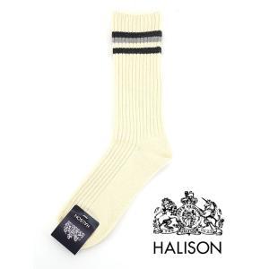 HALISON/ハリソン/アイビークルーソックス/オーガニックコットン/オフホワイト×グレー/hal341402|rootweb