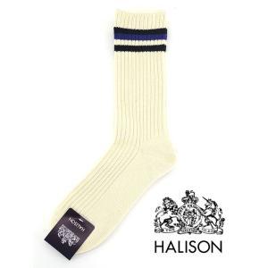 HALISON/ハリソン/アイビークルーソックス/オーガニックコットン/オフホワイト×ブルー/hal341403|rootweb