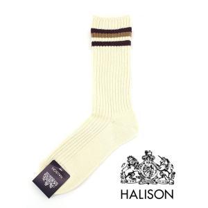 HALISON/ハリソン/アイビークルーソックス/オーガニックコットン/オフホワイト×エンジ/hal341404|rootweb