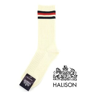 HALISON/ハリソン/アイビークルーソックス/オーガニックコットン/オフホワイト×レッド/hal341405|rootweb