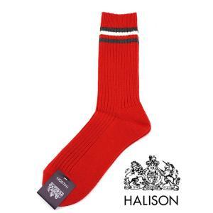 HALISON/ハリソン/アイビークルーソックス/レッド/hal341409|rootweb