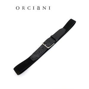 ORCIANI/オルチアーニ/ストレッチベルト/クロコダイル×スエード/ブラック/orc341820|rootweb