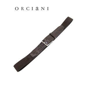 ORCIANI/オルチアーニ/ストレッチベルト/クロコダイル×スエード/ダークブラウン/orc341821|rootweb