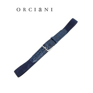 ORCIANI/オルチアーニ/ストレッチベルト/クロコダイル×スエード/ネイビーブルー/orc341822|rootweb