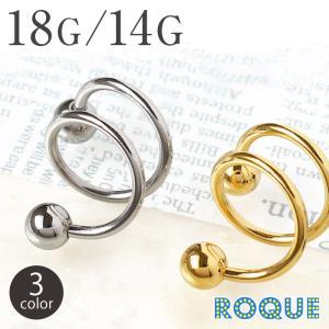 軟骨ピアス リング ボディピアス 18G 16G 14G スパイラルバーベル 2回転コークスクリュー2連ピアス(1個売り)(オマケ革命)|roquebodypieace