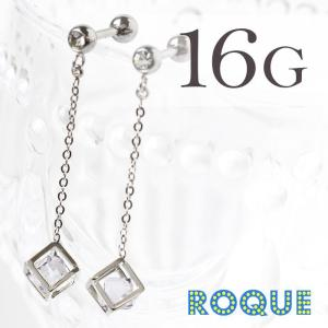 ボディピアス 16G キュービックフレームインジュエルバーベル(1個売り)(オマケ革命)|roquebodypieace