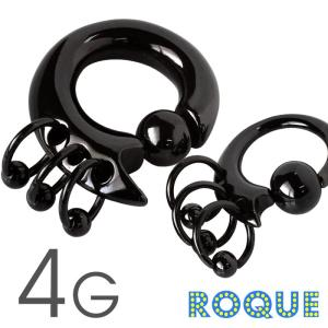 ボディピアス 4G 3連リングトライバルデザイン キャプティブビーズリング(ブラック)(1個売り)(オマケ革命)|roquebodypieace
