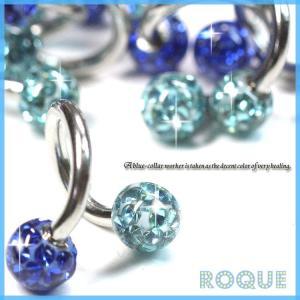 スパイラルバーベル ボディピアス 14G 究極のブルーコラボ ダブルパヴェ(ROQUE限定)(1個売り)(オマケ革命)|roquebodypieace