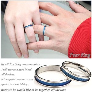 サージカルステンレスリング 指輪 ペアリング シルバー クールブルーチェッカー デザインリング(ステンレスリング)(1個売り)(オマケ革命)|roquebodypieace|02