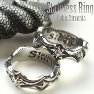 サージカルステンレスリング 指輪 メンズ シルバー スタッズ調最強デザインリング キュービックジルコニア(1個売り)(オマケ革命)|roquebodypieace