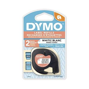 Dymo 1/2in X 13ft Letratag White Paper Tape (2-Tapes) rora2020