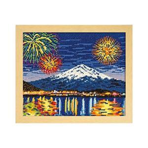 オリムパス製絲 クロスステッチ 刺しゅうキット 名所シリーズ 河口湖冬花火と富士山 ベージュ 7462|rora2020