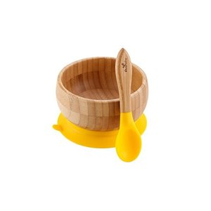 Smart Start Avanchy アヴァンシー ひっくり返らない 竹食器 ボウル 吸盤・スプーン付き イエロー|rora2020