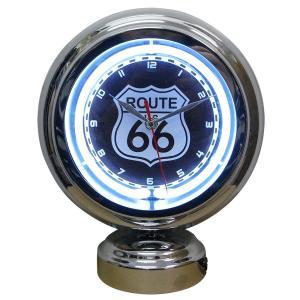 ガスランプ ネオン クロック ROUTE 66 ルート66 アメリカ雑貨|rose-bowl