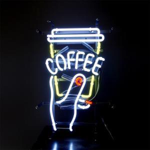 喫茶店、カフェなどの飲食店で使えるCOFFEEネオン♪ コーヒーを片手に写真を撮っているようなデザイ...