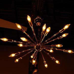 リビング 照明 おしゃれ 電気 天井照明器具 ライト 天井照明 アンティーク レトロ おしゃれ スプートニクランプ クローム 18球 シーリングライト シルバー rose-bowl