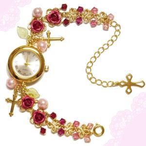 薔薇 バラ ローズ ばら 十字架 クロス ピンク ゴールド 金 パール ビーズ スワロフスキー (腕時計) ブレスウオッチ アクセサリー|rose-cross