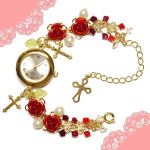 薔薇 バラ ローズ ばら 十字架 クロス 赤 レッド 金 ゴールド ビーズ スワロフスキー (腕時計) ブレスウオッチ アクセサリー|rose-cross