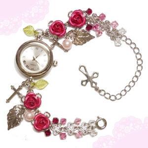 薔薇 バラ ローズ ばら 十字架 クロス ピンク シルバー 銀 パール ビーズ スワロフスキー (腕時計) ブレスウオッチ アクセサリー|rose-cross