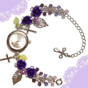 薔薇 バラ ローズ ばら 十字架 クロス 紫 パープル シルバー 銀 ビーズ スワロフスキー (腕時計) ブレスウオッチ アクセサリー|rose-cross