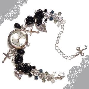 薔薇 バラ ローズ ばら 十字架 クロス 黒 ブラック シルバー 銀 パール ビーズ スワロフスキー (腕時計) ブレスウオッチ アクセサリー|rose-cross