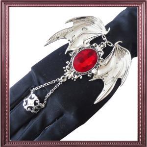 羽根 羽 フェザー ブレスレット リング 指輪 腕輪 赤 レッド シルバー ゴシック ゴスロリ パンク レディース メンズ ハロウィン コスプレ|rose-cross