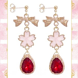 桜 サクラ さくら リボン 雫 ドロップ ガラス 金 ゴールド 赤レッド ピアス イヤリング 両耳用 ペア 結婚式 ドレス パーティー 可愛い レディース|rose-cross