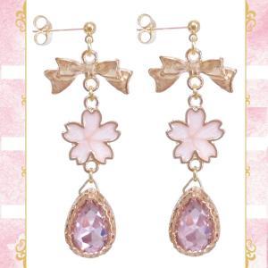 桜 サクラ さくら リボン 雫 ドロップ ガラス 金 ゴールド ピンク ピアス イヤリング 両耳用 ペア 結婚式 ドレス パーティー 可愛い レディース|rose-cross