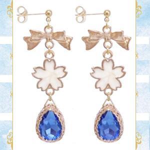 桜 サクラ さくら リボン 雫 ドロップ ガラス 金 ゴールド 青ブルー ピアス イヤリング 両耳用 ペア 結婚式 ドレス パーティー 可愛い レディース|rose-cross