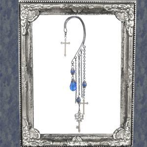 十字架 クロス 鍵 キー カギ 青ブルー イヤークリップ イヤーフック 片耳用 女性用 男性用 レディース メンズ ハロウィン コスプレ|rose-cross