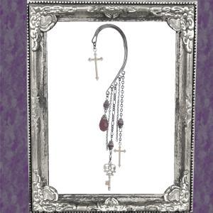十字架 クロス 鍵 キー カギ 紫パープル イヤークリップ イヤーフック 片耳用 女性用 男性用 レディース メンズ ハロウィン コスプレ|rose-cross