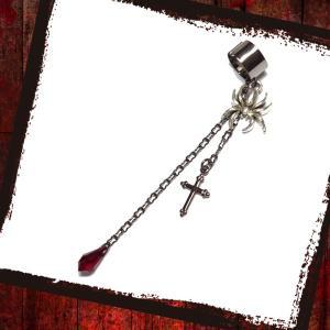蜘蛛 クモ スパイダー 十字架 クロス・黒×赤 (イヤーカフス) rose-cross