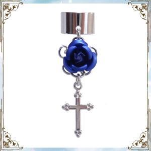 薔薇 ローズ バラ 十字架 クロス 銀×濃青 (イヤーカフス) イヤークリップ rose-cross
