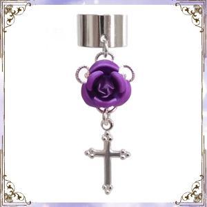 薔薇 ローズ バラ 十字架 クロス 銀×紫 (イヤーカフス) イヤークリップ rose-cross