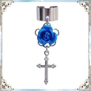 薔薇 ローズ バラ 十字架 クロス 銀×青 (イヤーカフス) イヤークリップ rose-cross
