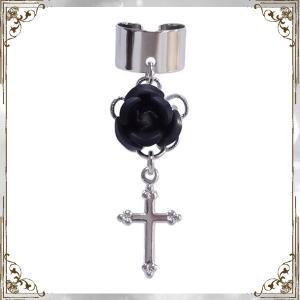 薔薇 ローズ バラ 十字架 クロス 銀×黒 (イヤーカフス) イヤークリップ rose-cross