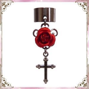 薔薇 ローズ バラ 十字架 クロス 黒×赤 (イヤーカフス) イヤークリップ rose-cross