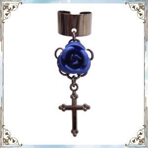 薔薇 ローズ バラ 十字架 クロス 黒×濃青 (イヤーカフス) イヤークリップ rose-cross