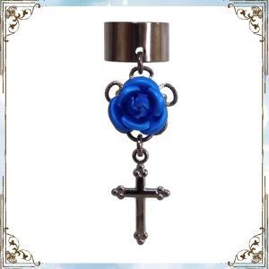 薔薇 ローズ バラ 十字架 クロス 黒×青 (イヤーカフス) イヤークリップ rose-cross