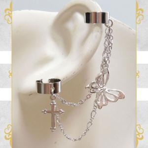 銀 シルバー 蝶 バタフライ 2連 十字架 クロス (イヤーカフス)イヤークリップ rose-cross