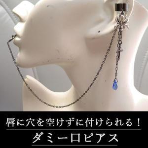 イヤーカフス&ダミー口ピアス 十字架 クロス 蜘蛛 クモ スパイダー・黒×青(偽口ピアス) rose-cross