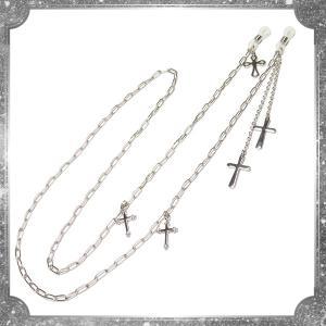 シルバー チェーン 十字架 クロス グラスコード・銀(眼鏡チェーン)|rose-cross