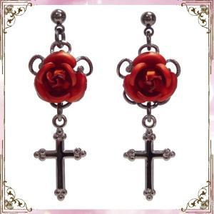 薔薇 バラ ローズ 十字架 クロス・赤 (ピアス) イヤリングに変更可|rose-cross