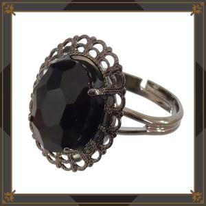 オーバル ストーン 楕円 指輪 フリーサイズ (リング) 黒 ブラック ゴシック ゴスロリ パンク アクセサリー レディース メンズ|rose-cross