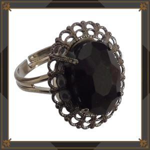オーバル ストーン 楕円 指輪 フリーサイズ (リング) 黒 ブラック ゴシック ゴスロリ パンク アクセサリー レディース メンズ|rose-cross|02
